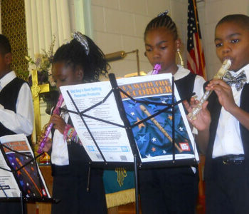 Recorder class perfroming during worship